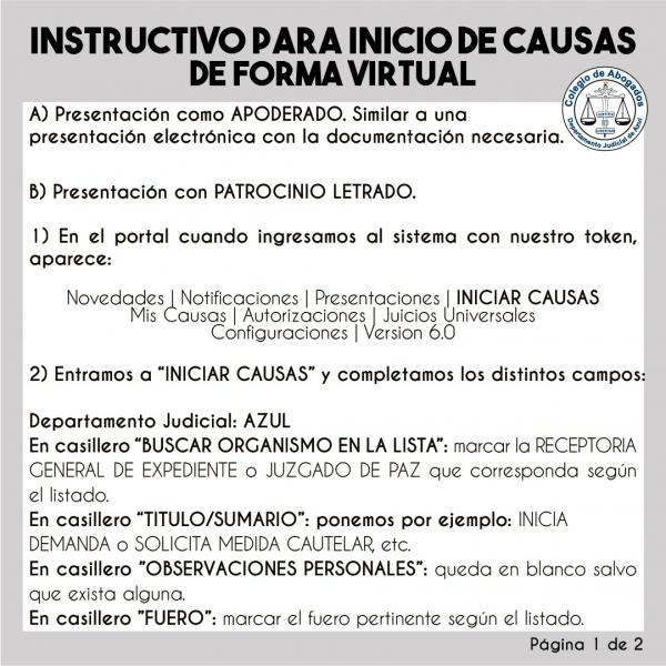 Instructivo para Inicio de Causas de forma virtual