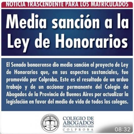 MEDIA SANCIÓN A LA LEY DE HONORARIOS